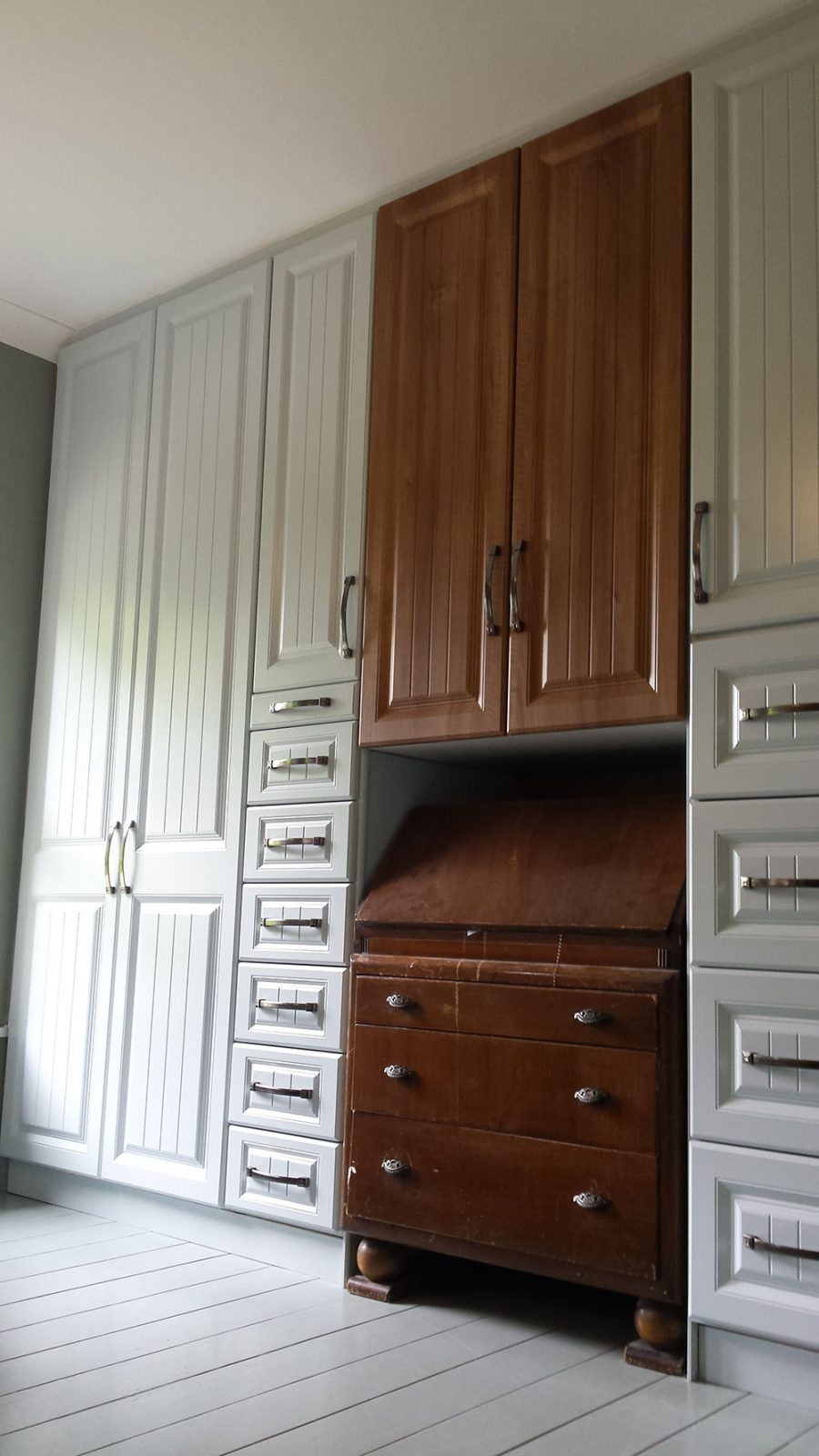 New Cream Wardrobes Around Old Writing Desk